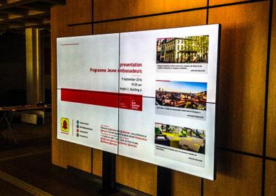 Mur d'images 4x55'' (EM Lyon Business School, Campus Ecully)
